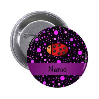 Personalized name ladybug purple polka dots 6 cm round badge