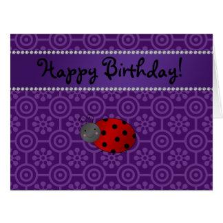 Personalized name ladybug purple retro flowers large greeting card