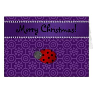 Personalized name ladybug purple retro flowers greeting card
