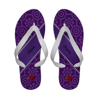 Personalized name ladybug purple retro flowers Flip-Flops