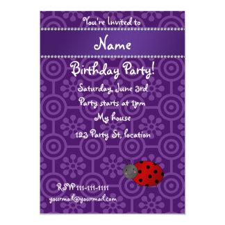 Personalized name ladybug purple retro flowers 5x7 paper invitation card