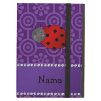 Personalized name ladybug purple retro flowers iPad cases