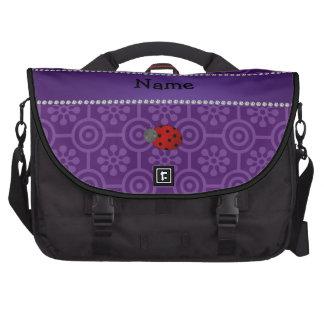 Personalized name ladybug purple retro flowers laptop computer bag