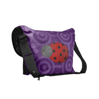 Personalized name ladybug purple retro flowers courier bags