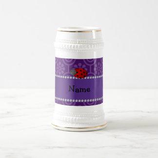 Personalized name ladybug purple retro flowers coffee mug