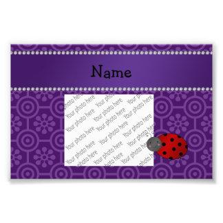 Personalized name ladybug purple retro flowers photo