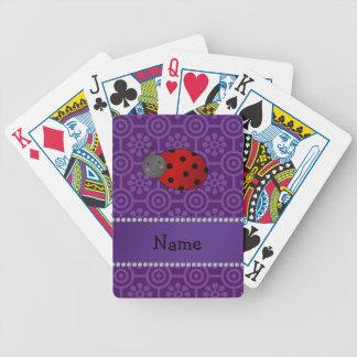 Personalized name ladybug purple retro flowers poker deck
