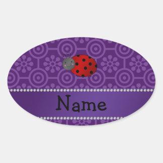 Personalized name ladybug purple retro flowers oval sticker