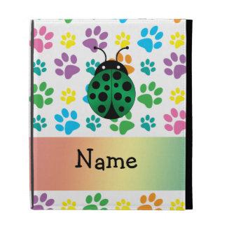 Personalized name ladybug rainbow paws iPad folio covers