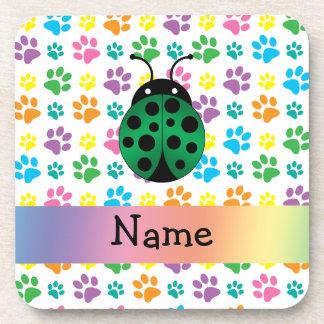 Personalized name ladybug rainbow paws coasters