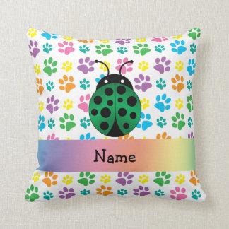 Personalized name ladybug rainbow paws throw pillows