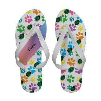 Personalized name ladybug rainbow paws flip flops