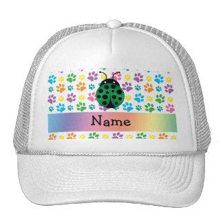 Personalized name ladybug rainbow paws trucker hat