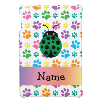 Personalized name ladybug rainbow paws cover for the iPad mini