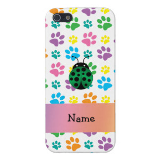 Personalized name ladybug rainbow paws iPhone 5 covers