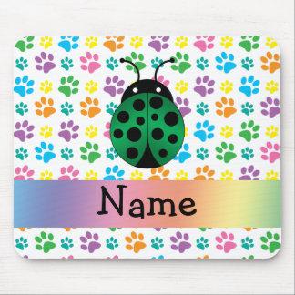Personalized name ladybug rainbow paws mouse pads