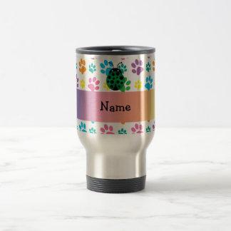 Personalized name ladybug rainbow paws mugs