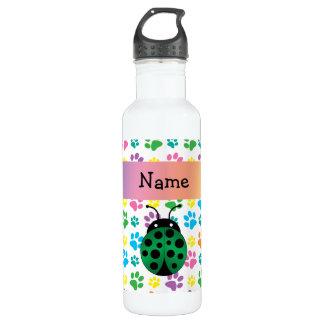 Personalized name ladybug rainbow paws 24oz water bottle