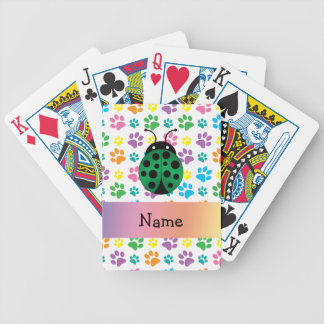 Personalized name ladybug rainbow paws bicycle poker deck