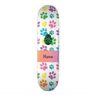 Personalized name ladybug rainbow paws skateboard