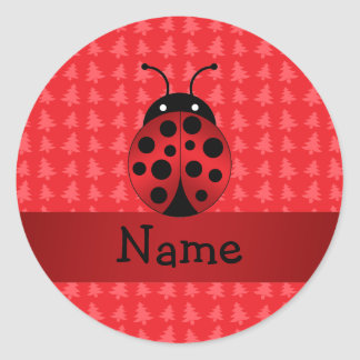 Personalized name ladybug red christmas trees round sticker