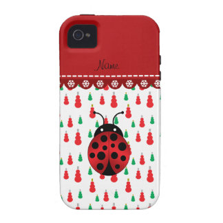 Personalized name ladybug red green snowmen vibe iPhone 4 cases