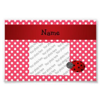 Personalized name ladybug red polka dots art photo