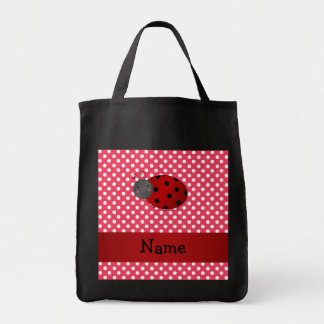 Personalized name ladybug red polka dots canvas bag