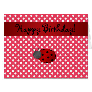 Personalized name ladybug red polka dots large greeting card
