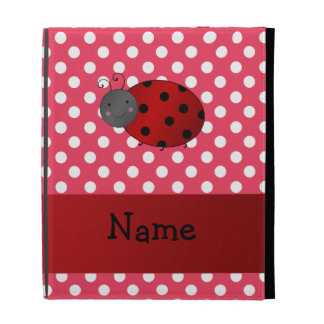 Personalized name ladybug red polka dots iPad cases