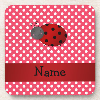 Personalized name ladybug red polka dots drink coasters