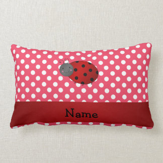 Personalized name ladybug red polka dots pillow