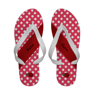 Personalized name ladybug red polka dots Flip-Flops