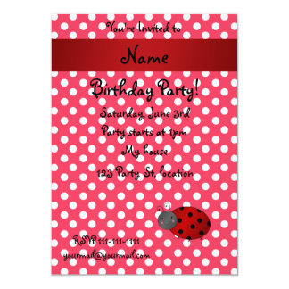 Personalized name ladybug red polka dots 5x7 paper invitation card
