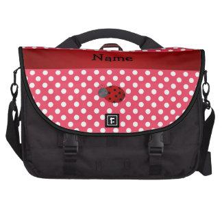 Personalized name ladybug red polka dots computer bag