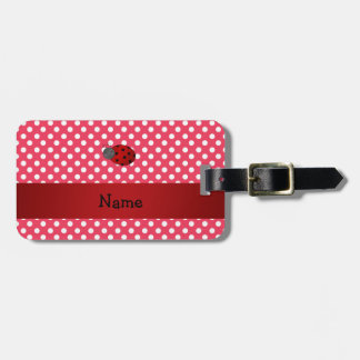 Personalized name ladybug red polka dots tags for bags