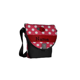 Personalized name ladybug red polka dots courier bag