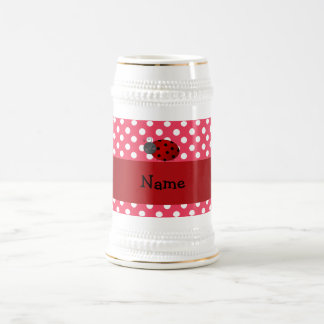 Personalized name ladybug red polka dots coffee mug
