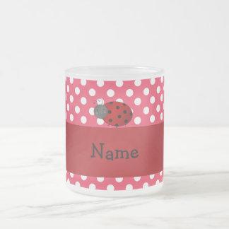 Personalized name ladybug red polka dots mugs