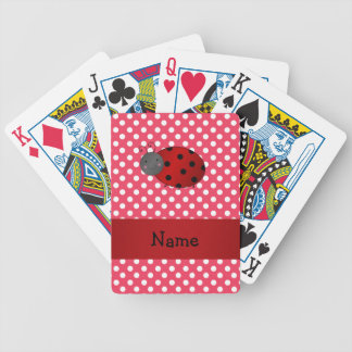 Personalized name ladybug red polka dots bicycle poker deck