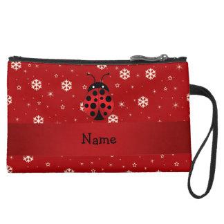 Personalized name ladybug red snowflakes wristlets