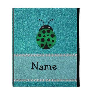 Personalized name ladybug turquoise glitter iPad case