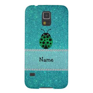 Personalized name ladybug turquoise glitter galaxy nexus covers