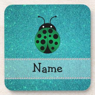 Personalized name ladybug turquoise glitter coasters