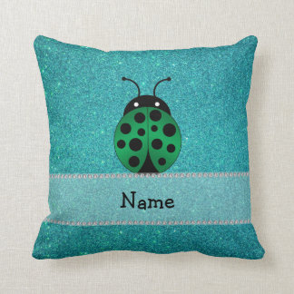Personalized name ladybug turquoise glitter throw pillow