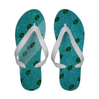 Personalized name ladybug turquoise glitter sandals