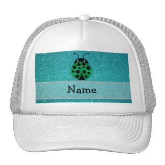 Personalized name ladybug turquoise glitter trucker hats