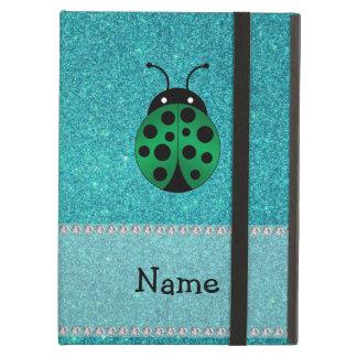 Personalized name ladybug turquoise glitter iPad folio case