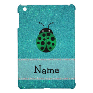 Personalized name ladybug turquoise glitter cover for the iPad mini