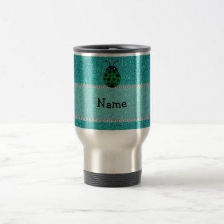 Personalized name ladybug turquoise glitter coffee mug
